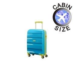 Mała walizka AMERICAN TOURISTER 85A*001 błękitna+limonkowe wykończenie